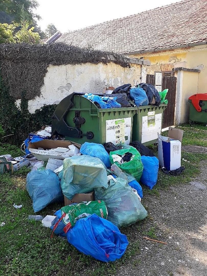 To pa je bolj pogosto stanje na ekološkem otoku na Dobrni pri parku.