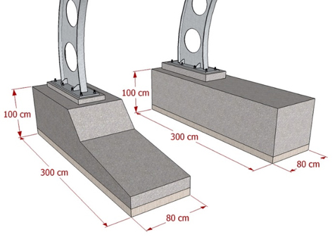 Kolesarnice - velika betonska peta